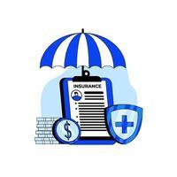 concepto de icono de seguro de salud vector