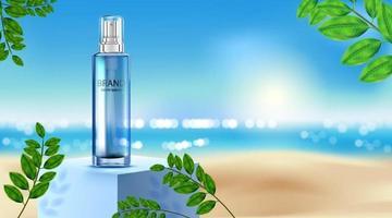 paquete de botella cosmética de lujo crema para el cuidado de la piel, cartel de producto cosmético de belleza, hojas y fondo de playa vector