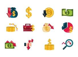 financial business crisis, stock market crash icon set vector