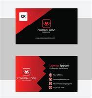 plantilla de diseño de tarjeta de visita geométrica roja y negra vector