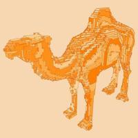 diseño de voxel de un camello vector