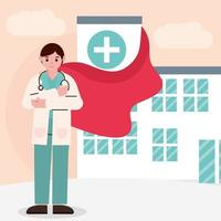 doctor as hero in front of the hospital vector