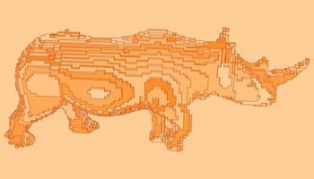 diseño de voxel de un rinoceronte vector
