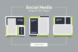 Minimalist green and dark theme social media template vector