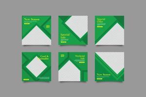 Minimalist geometric green social media post template vector