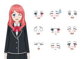 linda chica anime vector