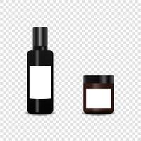 Realistic bottle cosmetic product mockup set. Vector mockup isolated.