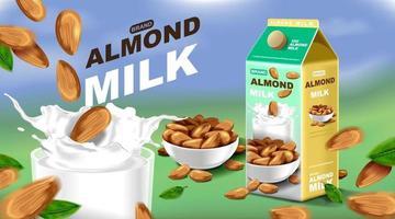 Almond milk with splashing liquid and seeds on blue sky, vector illustration