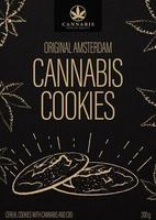 Cannabis cookies, black package design in doodle style with cannabis cookies and marijuana leafs. Black cover design for cannabis products vector