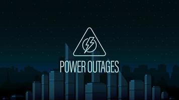 Power outage, warning triangle logo on the background of the city without electricity in digital style vector