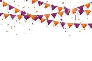 Colorful bunting flags with Confetti and ribbons for halloween, birthday, celebration, carnival, anniversary and holiday party on white background. Vector illustration