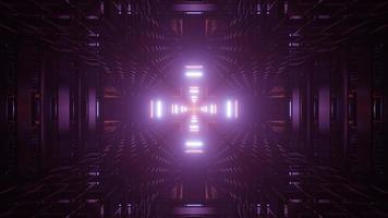 3D kreuzförmiger Tunnel mit flackernden Lichtern video