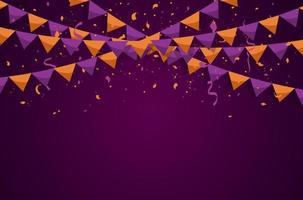 banderas del empavesado de colores con confeti y cintas para halloween, cumpleaños, celebración, carnaval, aniversario y fiesta sobre fondo blanco. ilustración vectorial vector