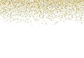 Sparkling glitter. Falling gold dust isolated on white background for Party, Wedding, Posters, Card, Christmas, New Year, Happy birthday. Vector illustration