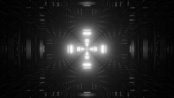 Tunnel abstrait monochrome dynamique 3D video