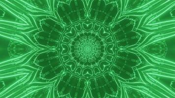 Mandala dinâmica verde brilhante 3D video