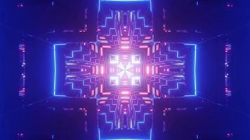Túnel 3D em forma de cruz com iluminação neon