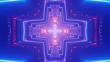 3D túnel multicolorido em forma de cruz