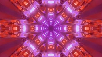 Tunnel de cristal rose et rouge 3D