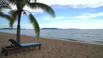 Beach chair, Palm and tropical beach at Pattaya in Thailand video