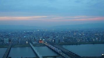 Timelapse horizonte de la ciudad de Osaka en Japón video