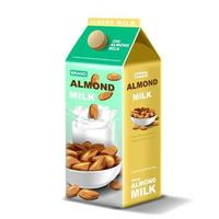 Paper package Almond milk with splashing liquid and seeds on isolated background, vector illustration