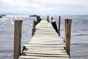 View at old wooden pier photo