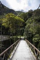 Close-up of the bridge over Urubamba River in Peru photo