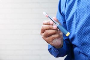 bolígrafos de insulina con espacio de copia foto