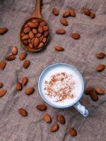 Organic almond milk photo
