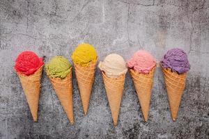 Ice cream on concrete photo