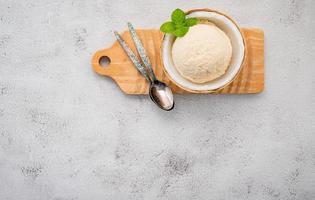 Coconut ice cream in a bowl