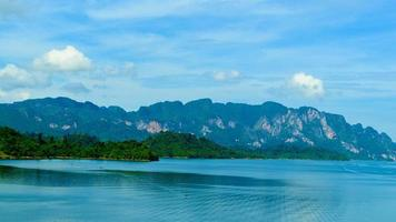 Serene blue water and mountains photo