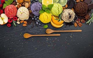 Ice cream and wooden spoons