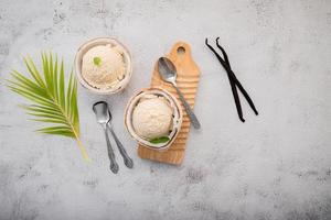 Coconut ice cream top view