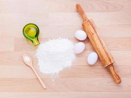 Fresh flour and eggs for pasta