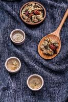 Herbal tea on cloth photo