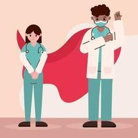 doctors as heroes during coronavirus vector