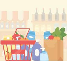 Paper bag and shopping basket full of groceries vector