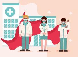 Interracial doctors as heroes during coronavirus vector
