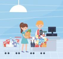 customer with full shopping carts, hoarding concept vector