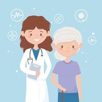 female physician with senior woman patient vector
