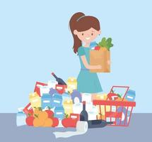 customer with full grocery bag and basket, excess purchase