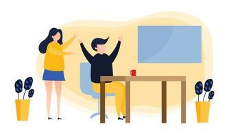 Business people celebrating victory,Best estimate of performance,Team Success vector illustration.