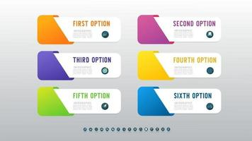 Presentation business 6 options infographic template with marketing icon design.
