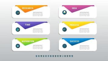 Business six steps process chart infographics with with icons for presentation. vector