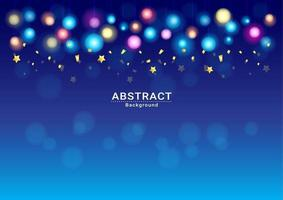 background Celebration  Dark blue holiday with  light and confitti vector