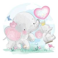 Cute elephants with swing illustration vector