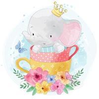 Cute elephant with teacup illustration vector