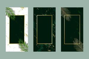 Invitation card background green leaf gold white and marble template vector